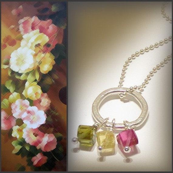 Tourmaline Pendant Necklace - Tourmaline Jewelry, Sterling Silver