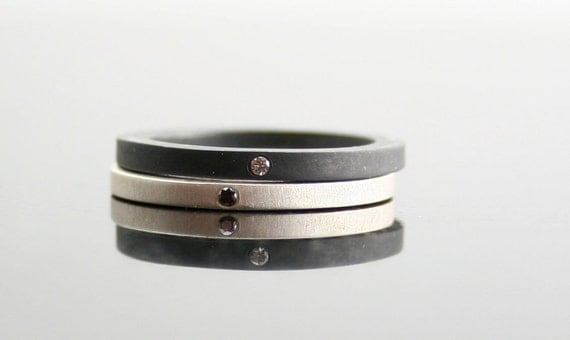 Stacking Rings - Black & White Diamond Ring Set  - Flush Set Diamonds - Minimalist Wedding Bands - Engagement Rings