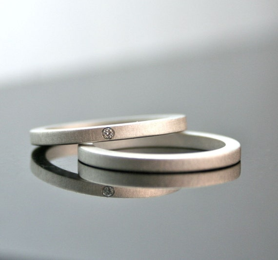 One Tiny Diamond Ring Set - Simple Wedding Rings - Sterling Silver Engagement Ring Set - Matte Finish - Simple Diamond Ring - Modern - 2 mm