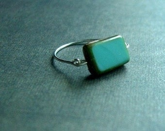 Teal Picasso Ring, Turquoise Ring, Bead Ring, Teal Ring, Rectangular Jewelry, Tortoise Shell Jewelry, Aqua Ring, Womens Rings, Small Gift