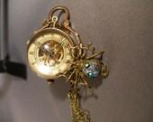 Mechanical ball watch brass spider vintage Swarovski crystals steam punk necklace  FunkyAlternativeJewelry, Halloween24/7, WWWG, OlympiaEtsy
