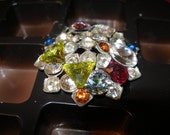 Brooch  Pin  BLING   vintage brooch, vintage Swarovski crystals, reworked by vintage craftsperson  --FunkyAlternativeJewelry, trashionteam