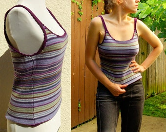 Purple HAZE 1970's Vintage Purple Periwinkle + Olive Striped Knit Tank Top // Hand Crochet // size Small Med