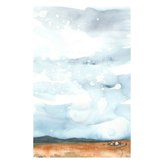 House in the Desert with a Pool - Original Watercolor Painting