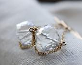 crystal quartz earrings, gold earrings, semi precious gemstone, bridal wedding
