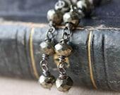 pyrite earrings, long black oxidized sterling silver jewelry, grey