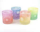 Bullseye Sun Lowball Tumblers - Painted and Frosted Glassware - Custom Glass Barware