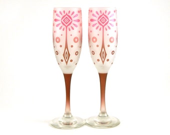 Carnival - Champagne Flutes - Frosted Style - Etched and Painted Glassware - Custom Made to Order