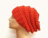 Lacy slouchy hat, pumpkin, orange, tangerine, hat, orange hat, lacy hat, women's hat, chemo cap, knit hat, slouchy beanie, toque, ski, shred