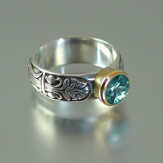 ALEXANDRIA ring in silver and 14K gold with Blue Zircon