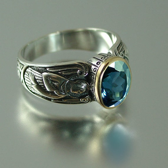 Guardian Angels silver 14K ring with London Blue Topaz