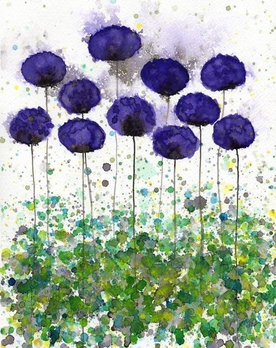 Watercolor Painting: Watercolor Flower Painting -- Art Print --  Upward Slope -- Purple Flowers -- 8x10