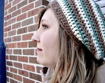 Slouchy Hat in Oatmeal, Barley Brown, and Sage Green Earthy Stripes - Crochet Slouch Beanie for Baby / Toddler / Boy / Girl / Man / Woman