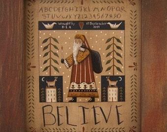 BELIEVE. A Santa Sampler Prim Folk Art DIY Painting E-Pattern by Donna Atkins