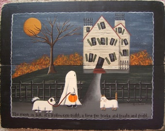 Trick or Treat HALLOWEEN DIY Craft E-Painting Pattern. Haunted House, Full Moon, & Ghosts by Donna Atkins