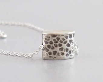 Silver Hammered Box Necklace Charm Chain DJStrang Boho Cottage Chic Minimalist