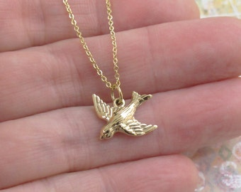 Bronze Flying Bird Necklace Charm Pendant Gold Chain DJStrang Golden Flight Protection Freedom