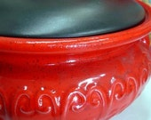 Vintage Red Ceramic Crock Casserole FREE SHIPPING