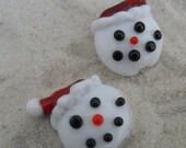 Snowmen, Lampwork Bead Pair, Handmade Glass Snowmen Santa, SRA LETEAM Glassymom