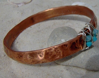 Copper Bangle Bracelet, Recycled Copper, Silver and Turquoise Crystal SRA LETEAM Glassymom