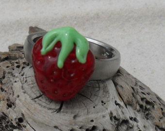 Lampwork Juicy Strawberry Ring Topper, Artisan Handmade SRA LETEAM Glassymom