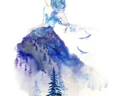 Jazz - Watercolor Art Giclee Print Winter Princess Fashion Sketch Baby Blue Mountain Lady Available in Paper and Canvas by Olga Cuttell