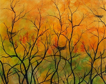 Time to Go - Art Print Forest Nests Autumn Sunset Silhouette Landscape Birds Kitchen Canadian Available in Paper and Canvas by Olga Cuttell