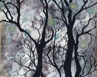 Will-o-the-Wisp - Watercolour Art Giclee Print Spooky Forest Spirit Lights Grey Haunting Ghost Available in Paper and Canvas by Olga Cuttell