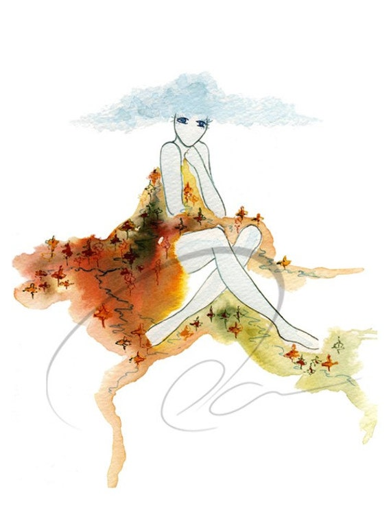 Earthen Blanket - Watercolor Art Giclee Print Nature Spirit Woman Mountain Dress Design Cloud Available in Paper and Canvas by Olga Cuttell