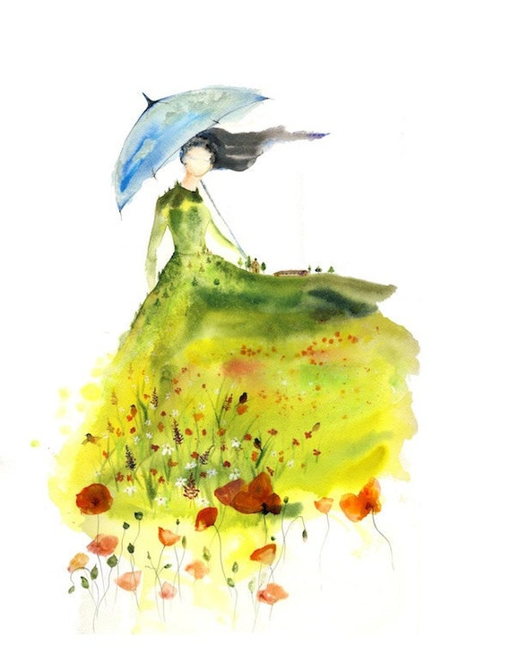 Lady Of The Glade Watercolor Art Print Blue Umbrella