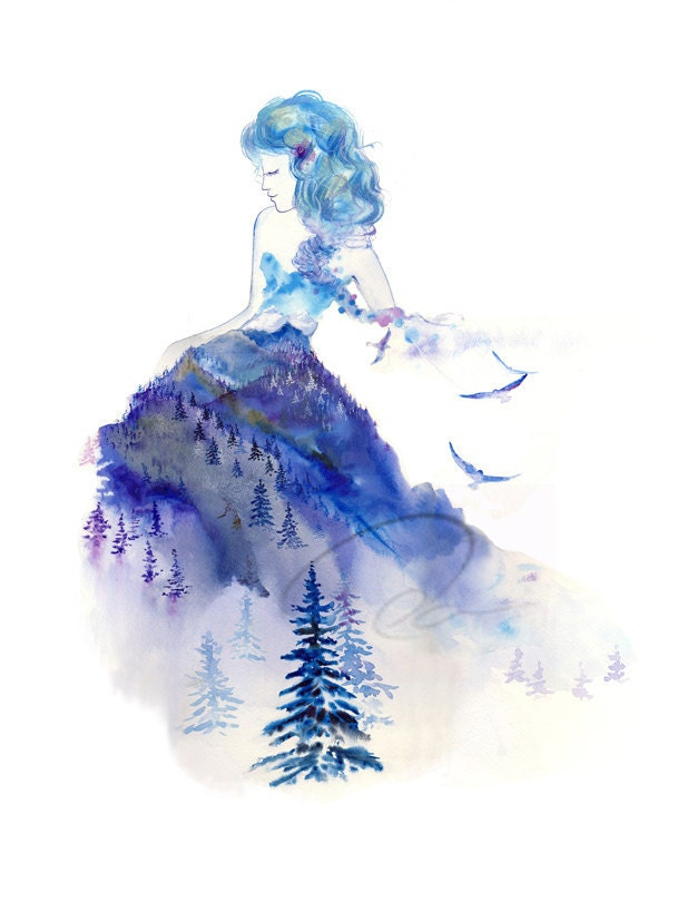 jazz watercolor art giclee print winter princess fashion