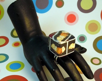 3D Stained Glass GUINEA PIG Cube Photo Ring - Conceptual Art Statement Ring w/ adjustable silver band