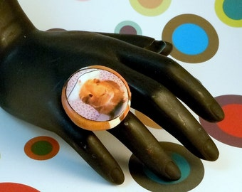 GUINEA PIG NURSE Orange Photo Statement Ring - Handmade Polymer Clay Adjustable Band Ring