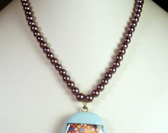 CLEARANCE SALE Guinea Pig Necklace - OOAK Turquoise Glass Photo Pendant with Plum Purple Glass Pearl Beaded Necklace