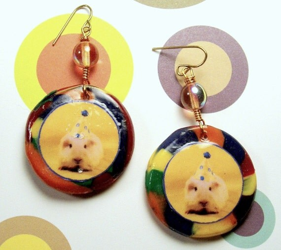 Fun Rainbow GUINEA PIG PARTY Earrings - Handmade Glass & Polymer Clay Wire Wrapped Photo Earrings