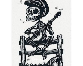 Skeleton Banjo Card Calavera Banjer Bones