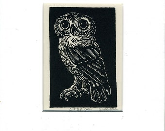 Little Owl Card matted and ready to frame
