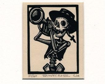 Calavera Skeleton Trumpeter original linocut print