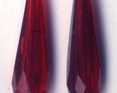 Pr VINTAGE CZECHOSLOVAKIA Hand Cut Glass Drops Prisms Gablonz Bohemia  RED