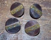 4 Vintage Grey MOP Buttons With Deco Design Brass Strip  Verdigris