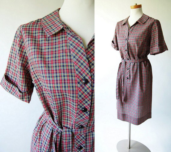 60s day dress / tartan plaid / belted / Red Green Yellow Navy Blue