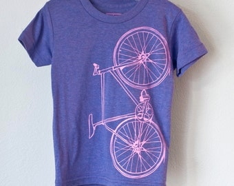 FIXIE BICYCLE 12 youth tshirt tri-blend bike tee pink on tri-purple size 12