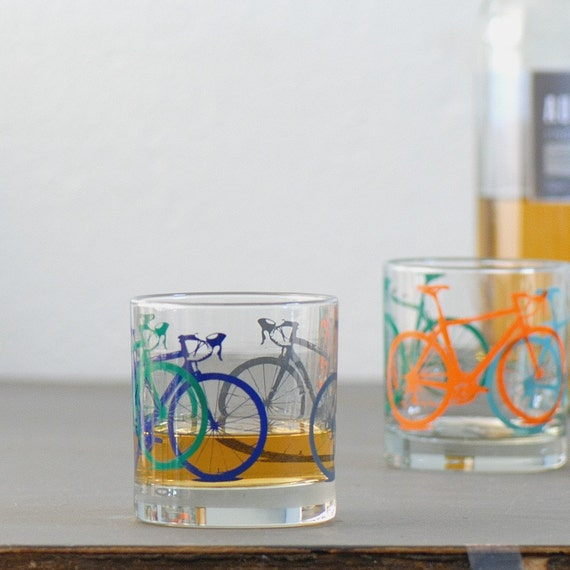TEST PRINT bike glasses - old fashioned rocks bicycle drinking glass