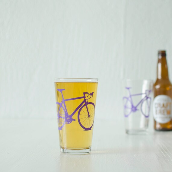 4 bicycle pint or rocks glasses screen printed bicycle barware
