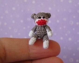 PDF PATTERN - Crochet Miniature SockMonkey - Amigurumi Tutorial