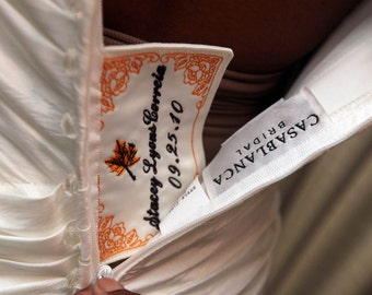 Custom wedding dress label simple something blue for How to ship a wedding dress usps