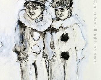 White Rabbit - Double Portrait - Giclee Print 8x10