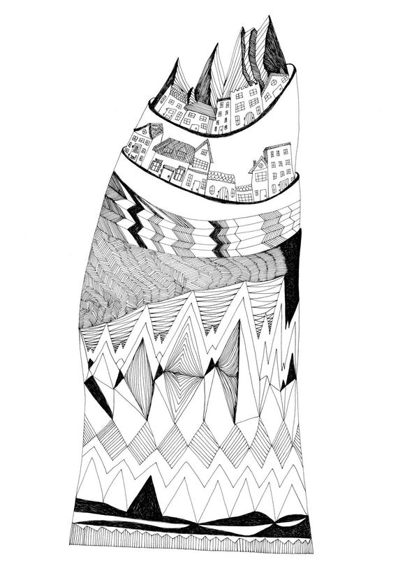 The Town Atop a Hill 8x10 Fine Art Archival Print of Original Pen and Ink Drawing