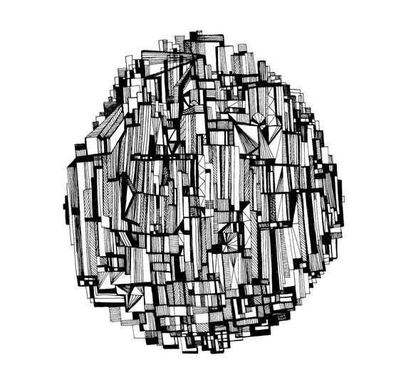 The Round Skyscraper 8x10 Abstract Fine Art Print of an Original Pen and Ink Drawing
