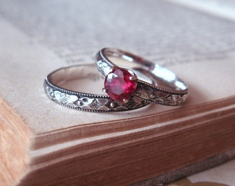 Alternate engagement Ring Red Ruby Ring Solitaire Gemstone Ring Promise in Sterling Silver